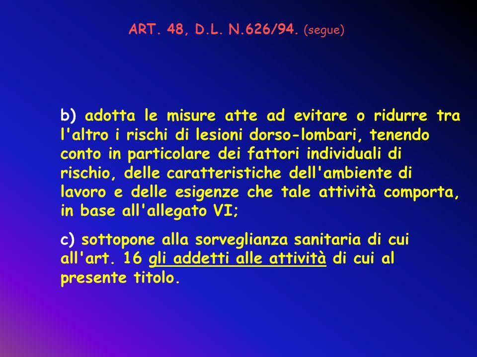 ART. 48, D.L. N.626/94. (segue)
