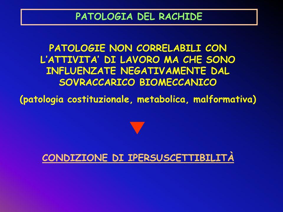 (patologia costituzionale, metabolica, malformativa)