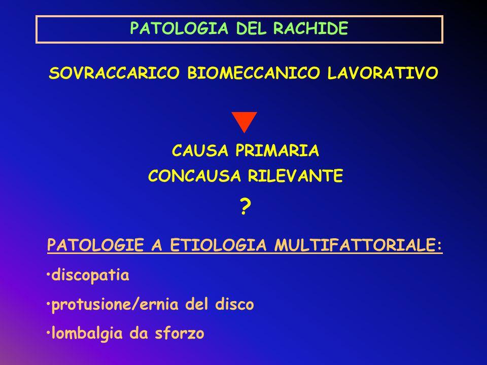 PATOLOGIA DEL RACHIDE SOVRACCARICO BIOMECCANICO LAVORATIVO
