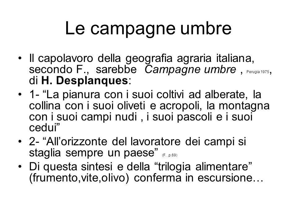 Le campagne umbre Il capolavoro della geografia agraria italiana, secondo F., sarebbe Campagne umbre , Perugia 1975, di H. Desplanques: