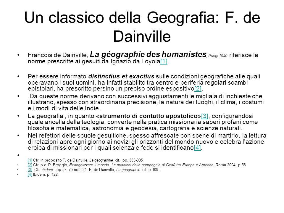 Un classico della Geografia: F. de Dainville