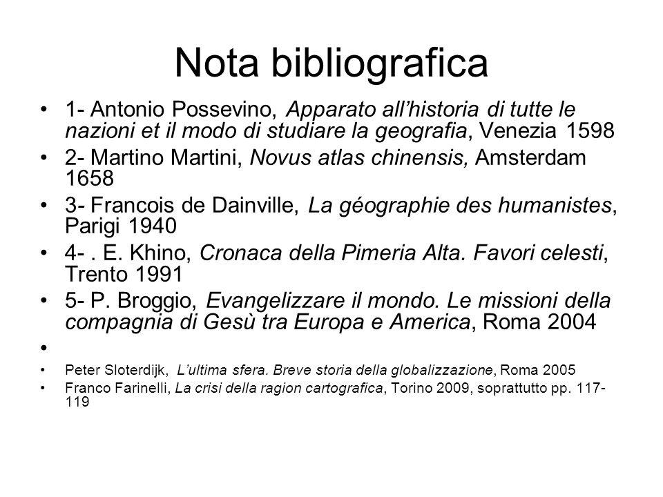 Nota bibliografica1- Antonio Possevino, Apparato all'historia di tutte le nazioni et il modo di studiare la geografia, Venezia 1598.