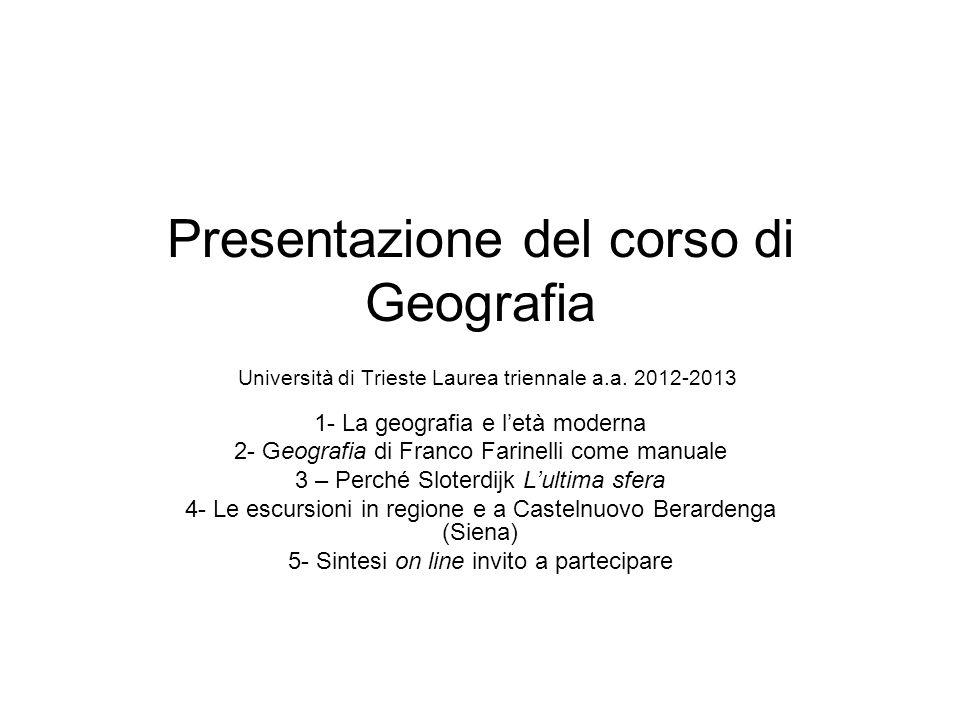 Presentazione del corso di Geografia Università di Trieste Laurea triennale a.a. 2012-2013