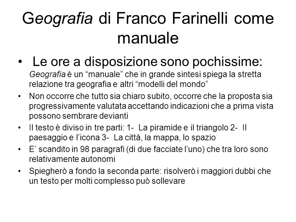 Geografia di Franco Farinelli come manuale