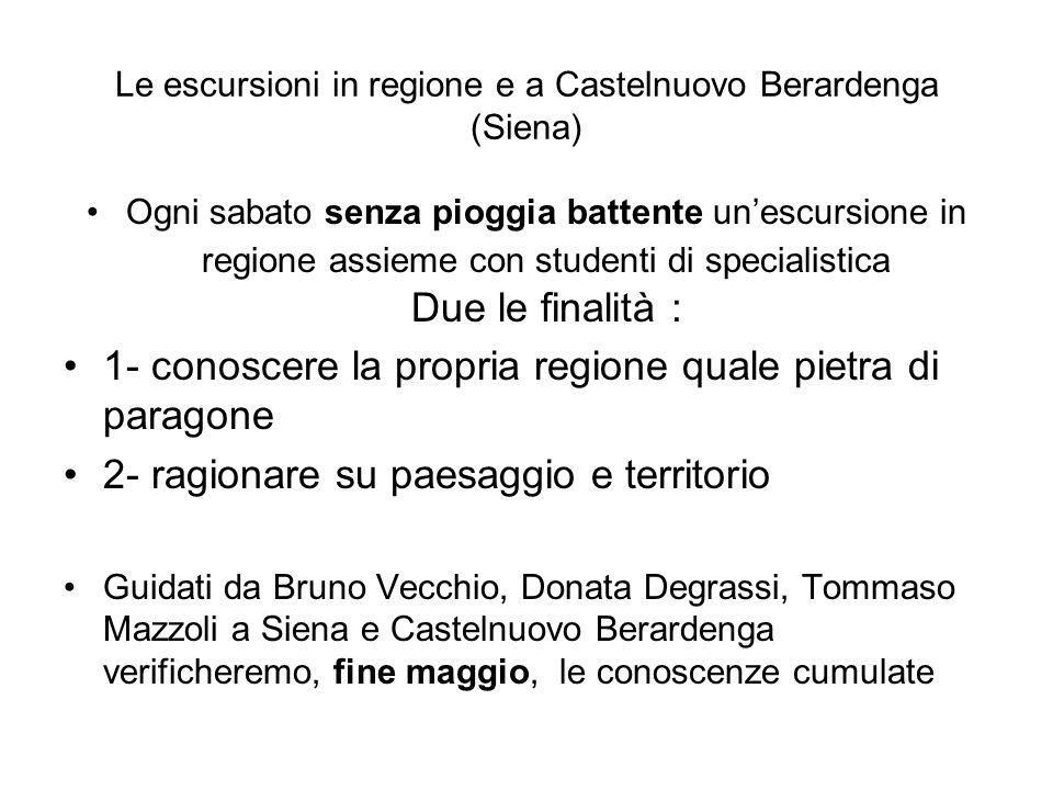 Le escursioni in regione e a Castelnuovo Berardenga (Siena)