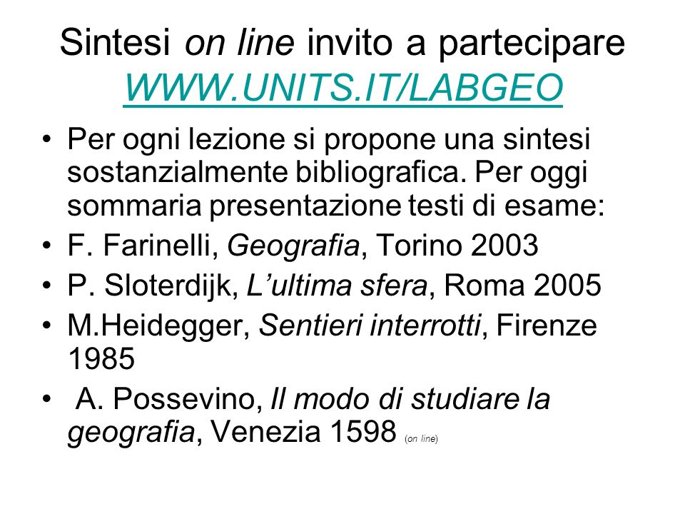 Sintesi on line invito a partecipare WWW.UNITS.IT/LABGEO