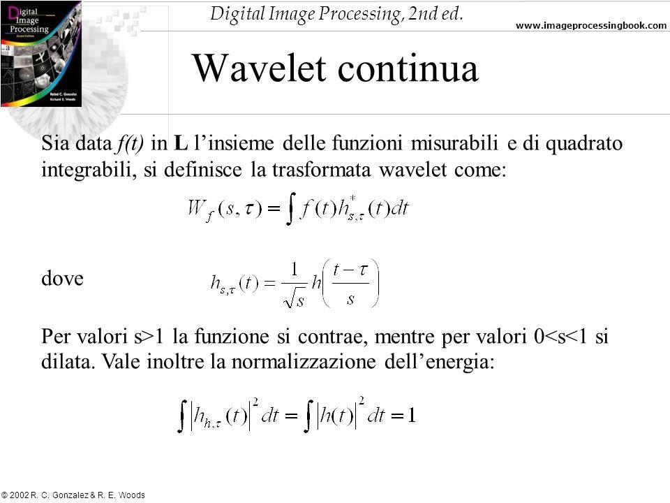 Wavelet continuaSia data f(t) in L l'insieme delle funzioni misurabili e di quadrato integrabili, si definisce la trasformata wavelet come: