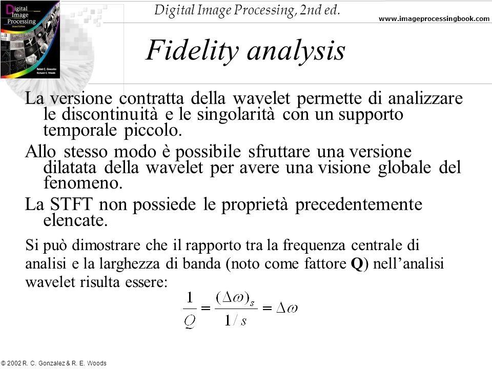 Fidelity analysisLa versione contratta della wavelet permette di analizzare le discontinuità e le singolarità con un supporto temporale piccolo.