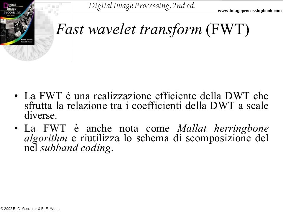 Fast wavelet transform (FWT)‏