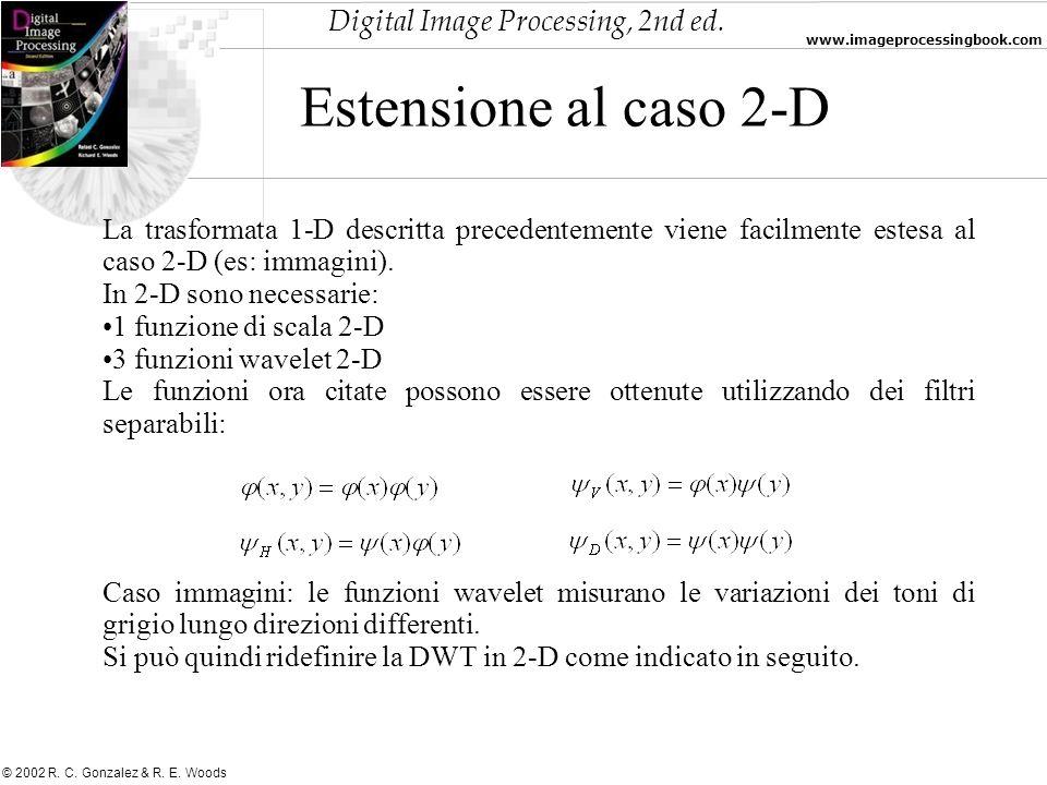 Estensione al caso 2-DLa trasformata 1-D descritta precedentemente viene facilmente estesa al caso 2-D (es: immagini).