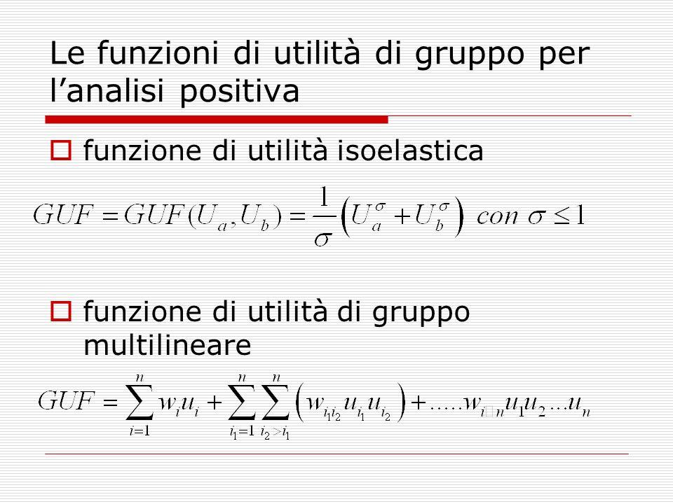 Le funzioni di utilità di gruppo per l'analisi positiva