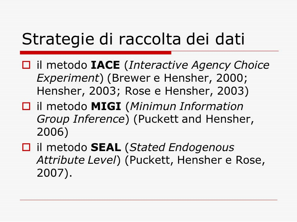 Strategie di raccolta dei dati