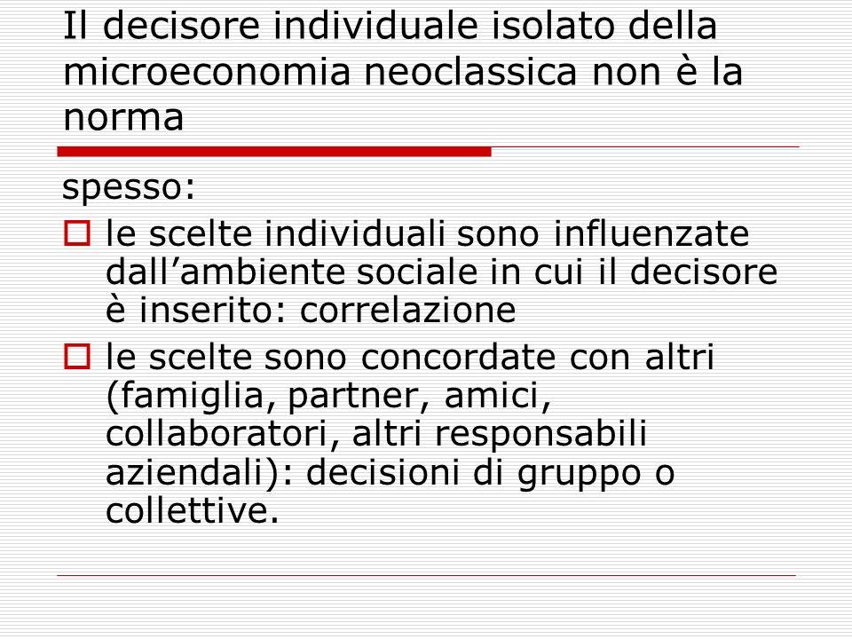 Il decisore individuale isolato della microeconomia neoclassica non è la norma