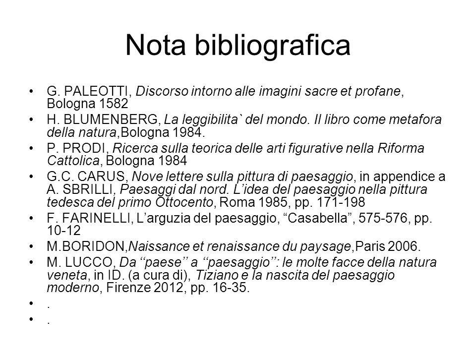 Nota bibliografica G. PALEOTTI, Discorso intorno alle imagini sacre et profane, Bologna 1582.