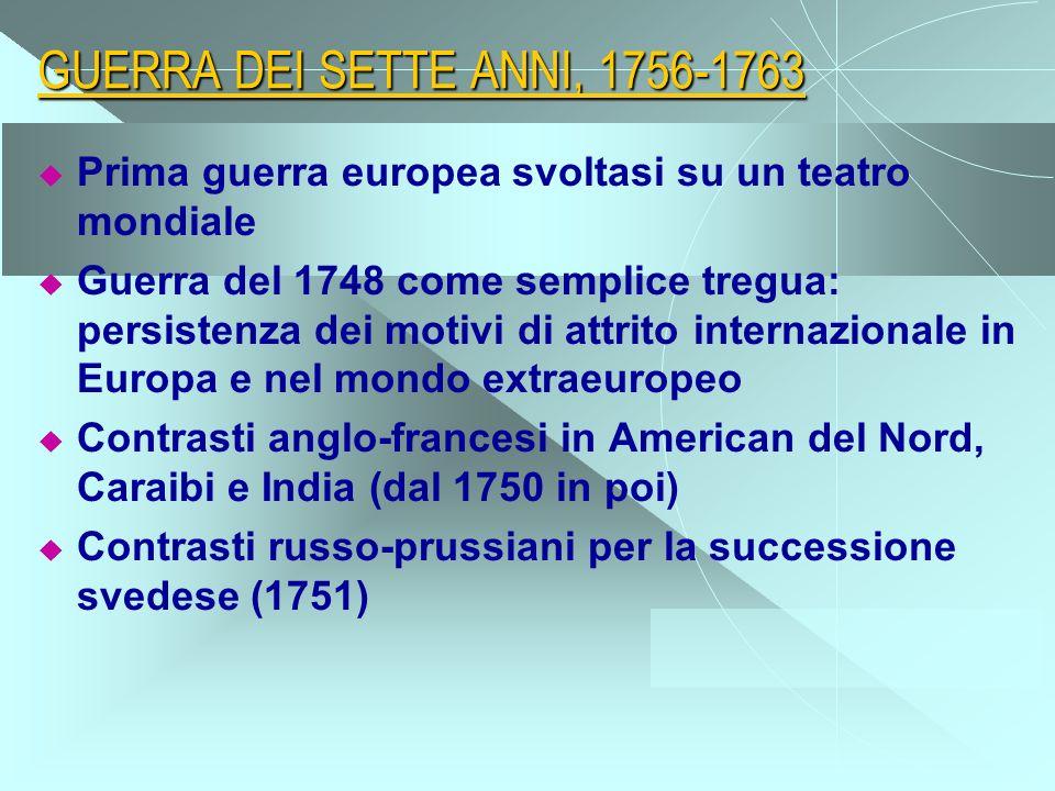 GUERRA DEI SETTE ANNI, 1756-1763 Prima guerra europea svoltasi su un teatro mondiale.