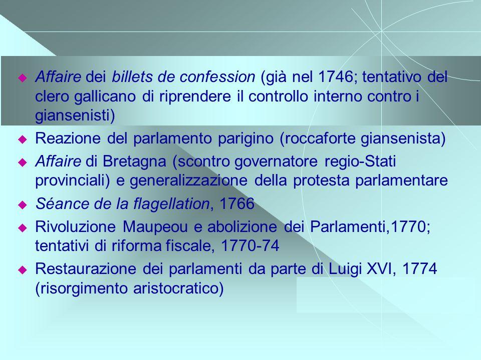 Affaire dei billets de confession (già nel 1746; tentativo del clero gallicano di riprendere il controllo interno contro i giansenisti)