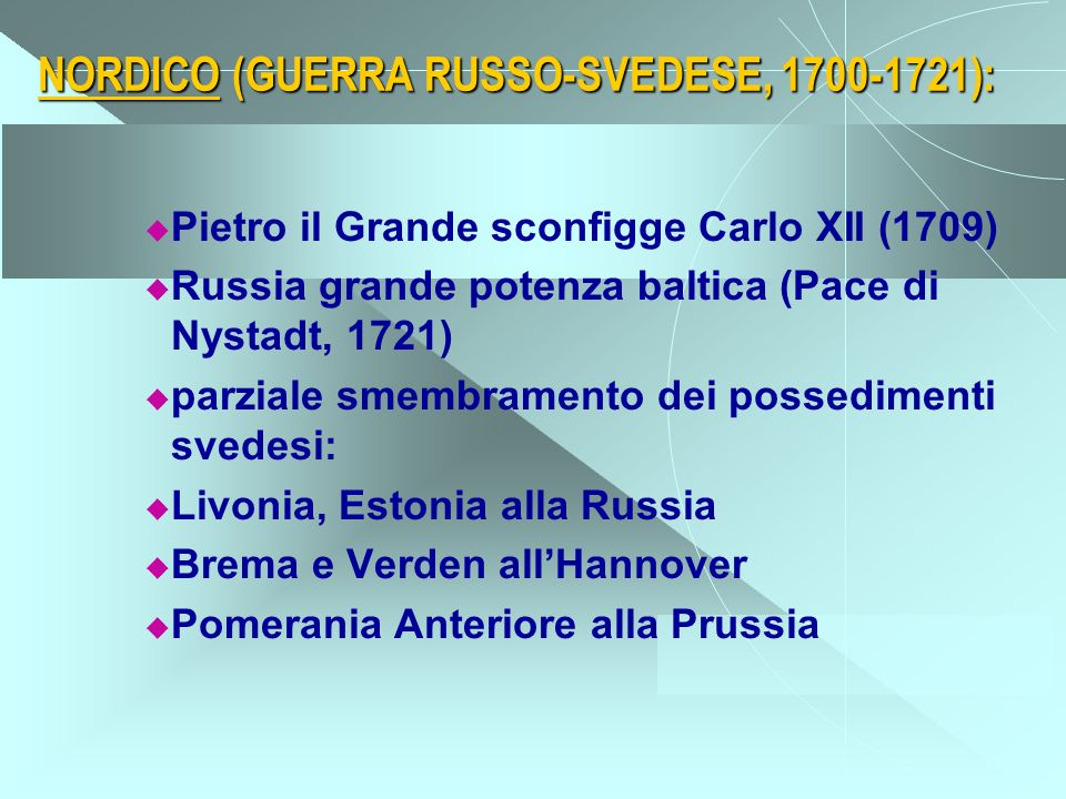 NORDICO (GUERRA RUSSO-SVEDESE, 1700-1721):