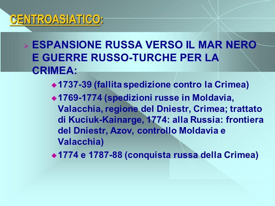 CENTROASIATICO: ESPANSIONE RUSSA VERSO IL MAR NERO E GUERRE RUSSO-TURCHE PER LA CRIMEA: 1737-39 (fallita spedizione contro la Crimea)