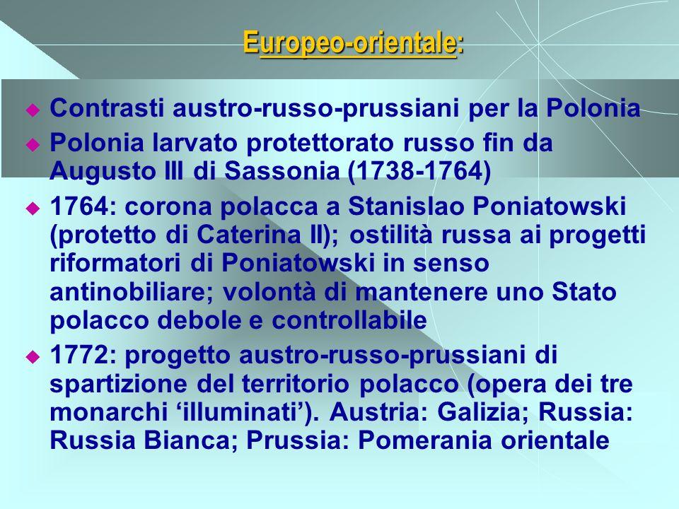 Europeo-orientale: Contrasti austro-russo-prussiani per la Polonia