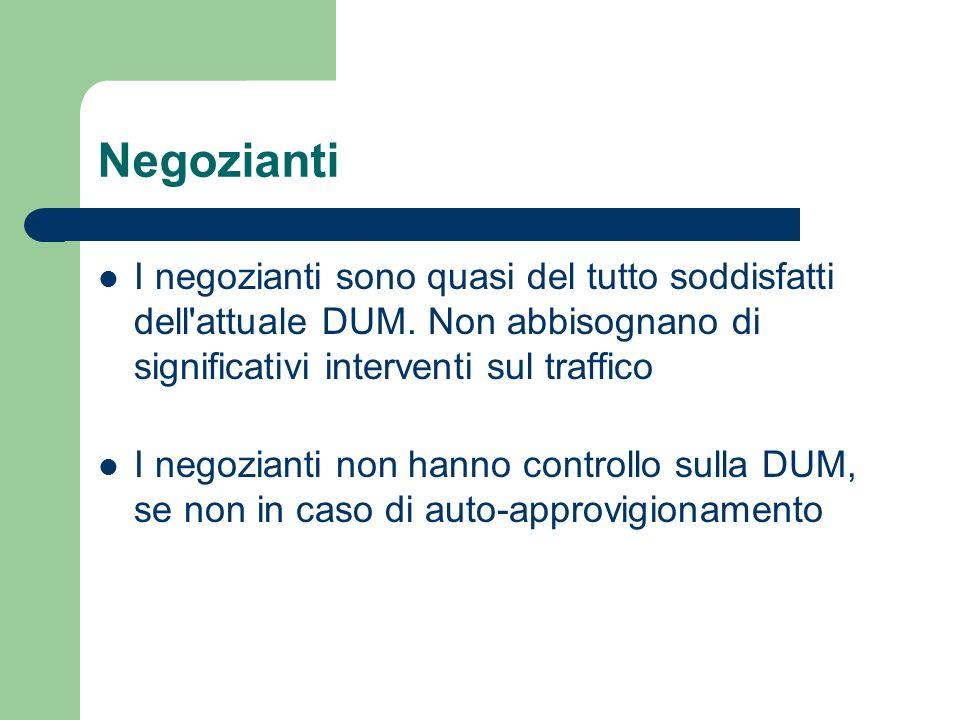 NegoziantiI negozianti sono quasi del tutto soddisfatti dell attuale DUM. Non abbisognano di significativi interventi sul traffico.