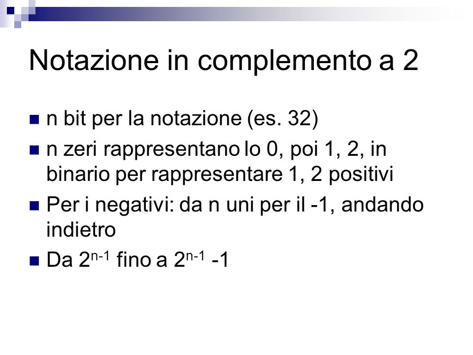 Notazione in complemento a 2