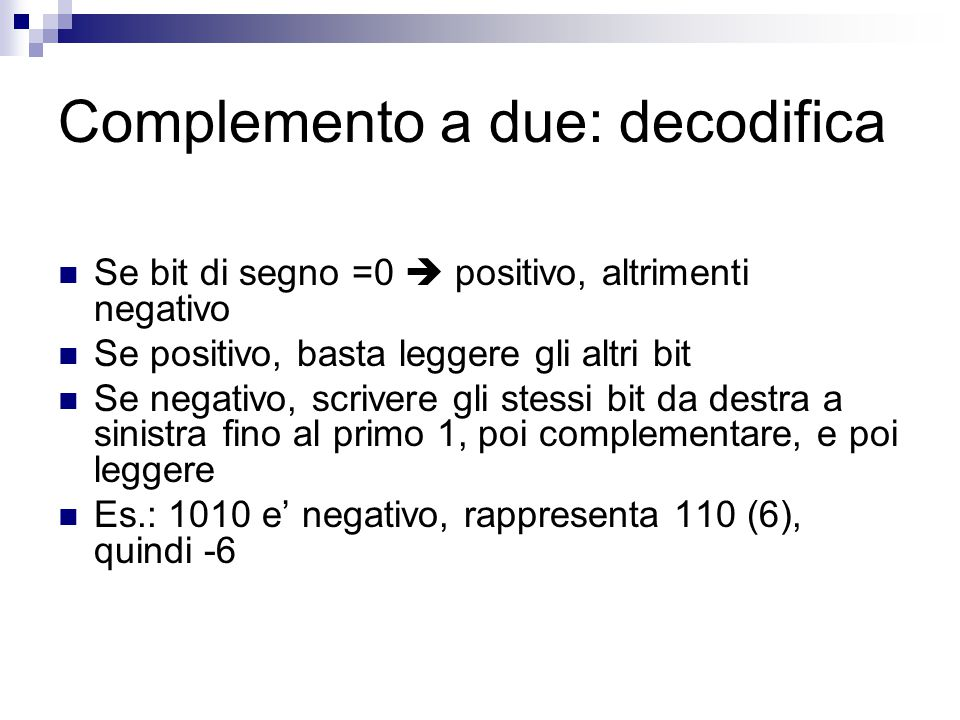 Complemento a due: decodifica