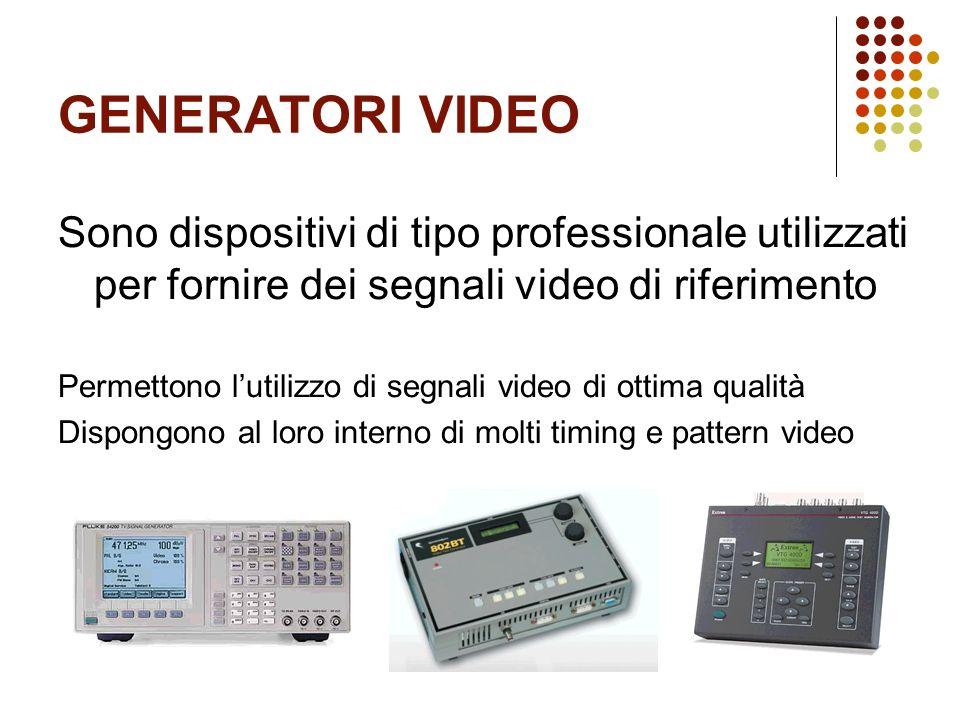 GENERATORI VIDEO Sono dispositivi di tipo professionale utilizzati per fornire dei segnali video di riferimento.