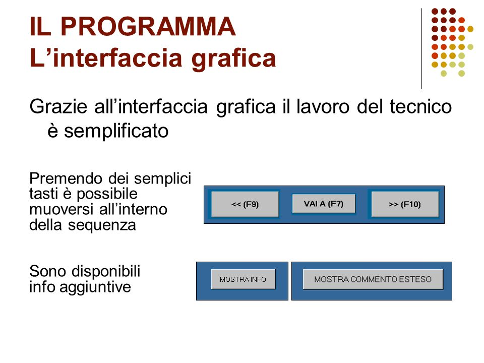 IL PROGRAMMA L'interfaccia grafica