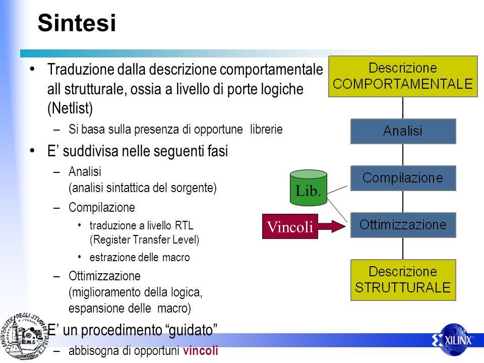 Sintesi Traduzione dalla descrizione comportamentale all strutturale, ossia a livello di porte logiche (Netlist)