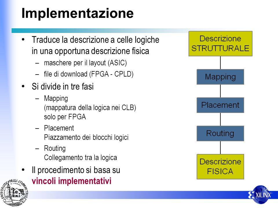 Implementazione Traduce la descrizione a celle logiche in una opportuna descrizione fisica. maschere per il layout (ASIC)