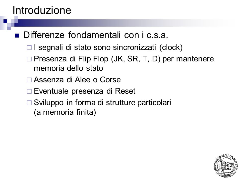 Introduzione Differenze fondamentali con i c.s.a.