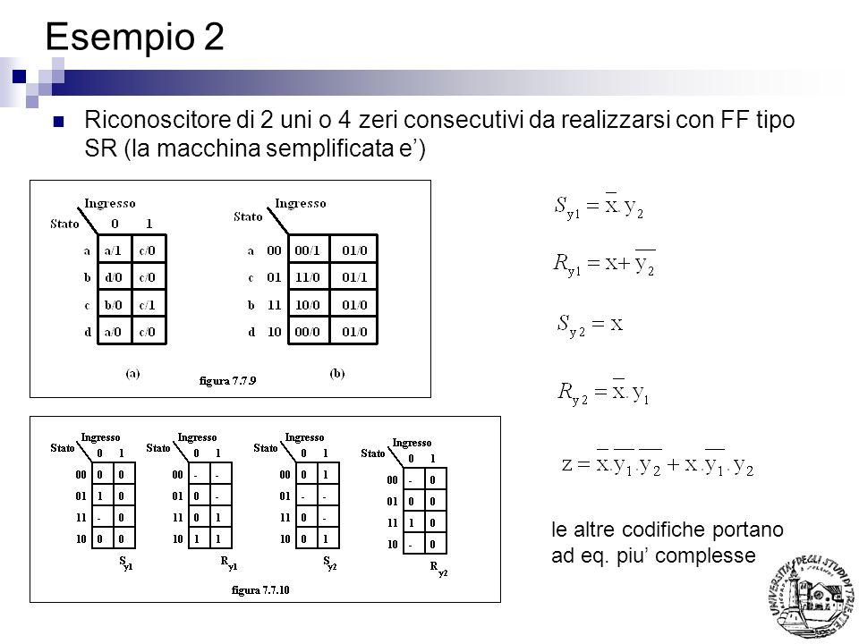 Esempio 2 Riconoscitore di 2 uni o 4 zeri consecutivi da realizzarsi con FF tipo SR (la macchina semplificata e')