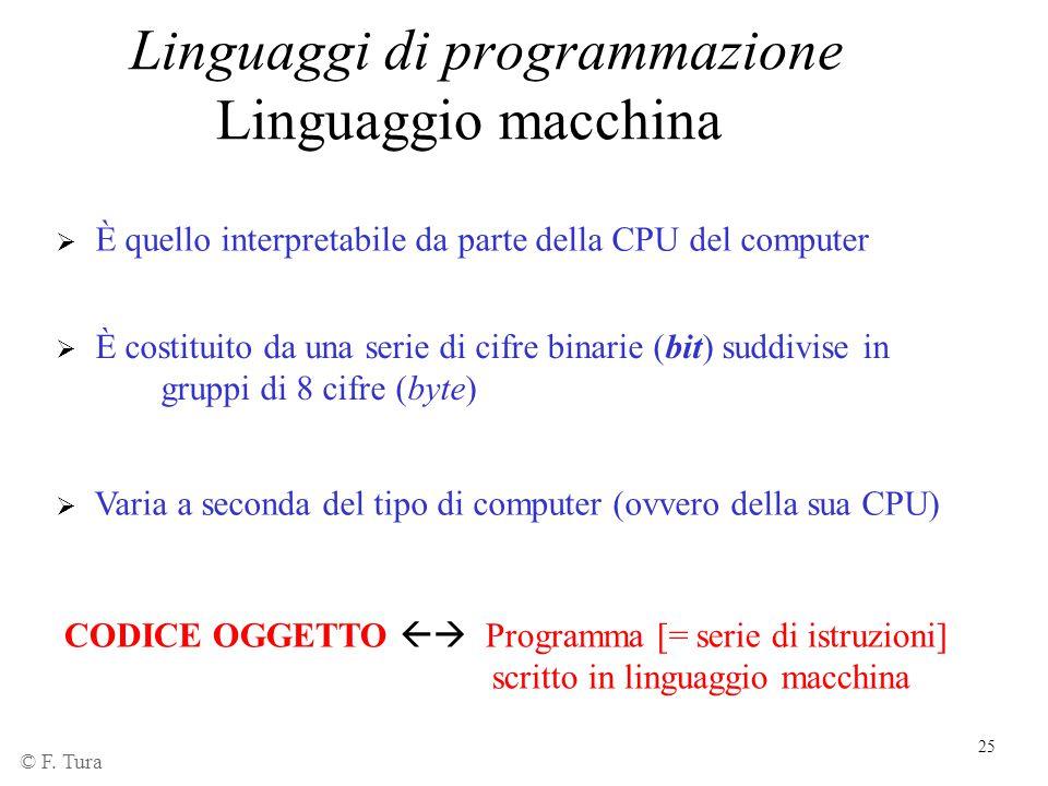 Linguaggi di programmazione Linguaggio macchina