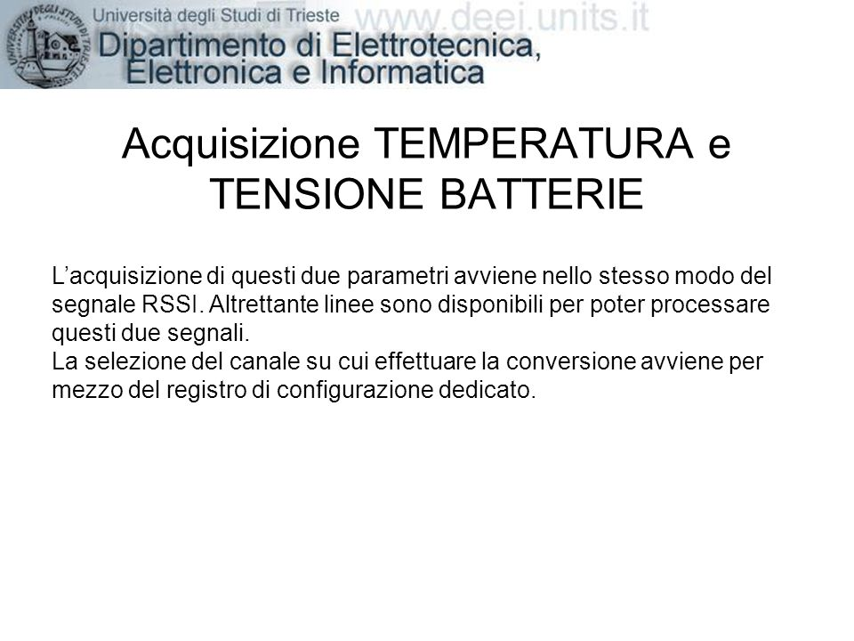 Acquisizione TEMPERATURA e TENSIONE BATTERIE