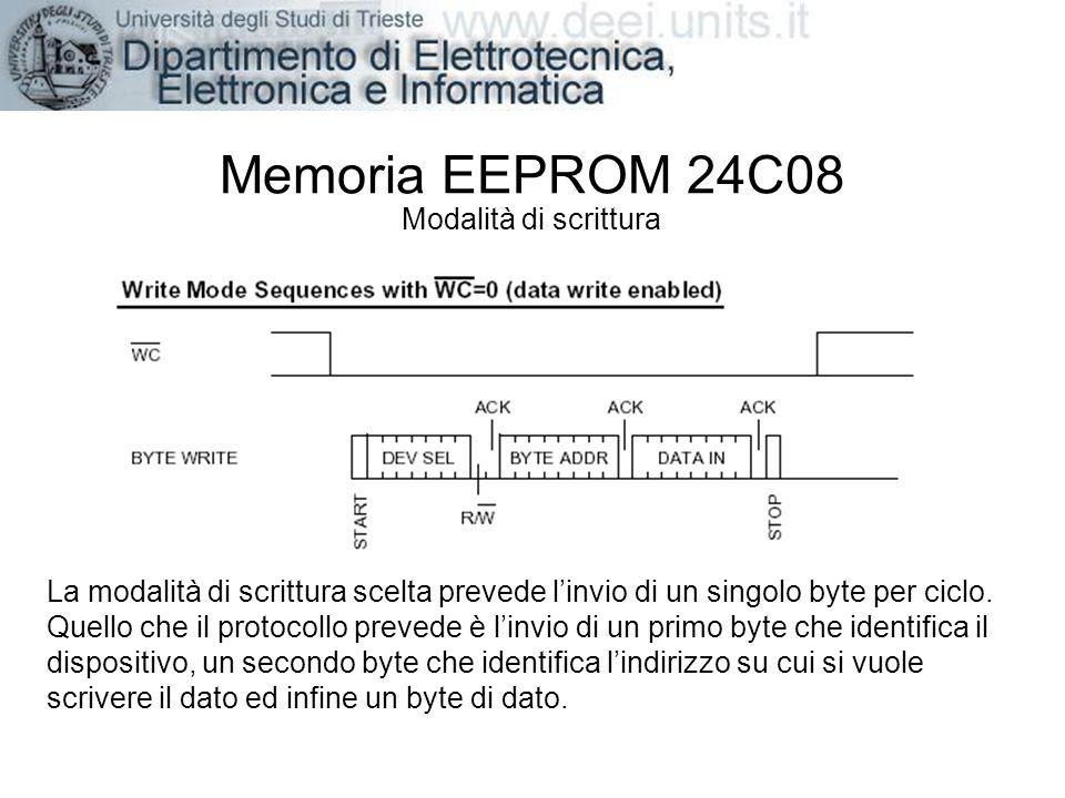 Memoria EEPROM 24C08 Modalità di scrittura