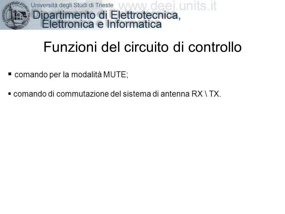 Funzioni del circuito di controllo