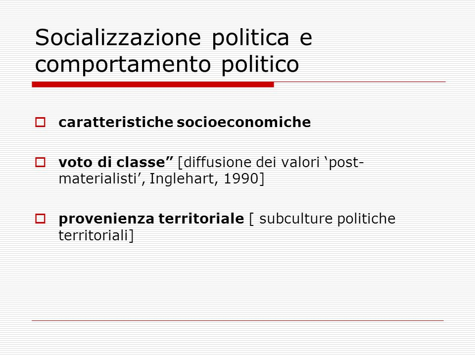 Socializzazione politica e comportamento politico