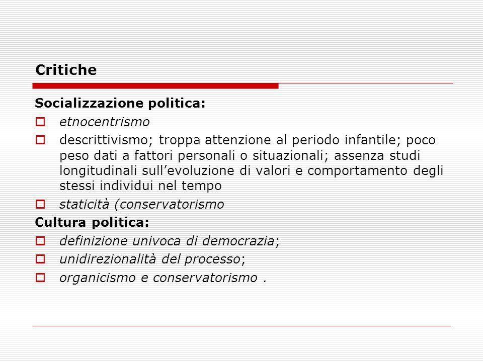 Critiche Socializzazione politica: etnocentrismo
