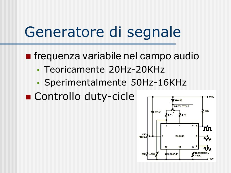 Generatore di segnale frequenza variabile nel campo audio
