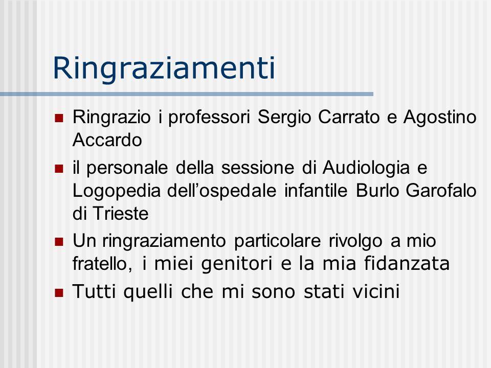Ringraziamenti Ringrazio i professori Sergio Carrato e Agostino Accardo.