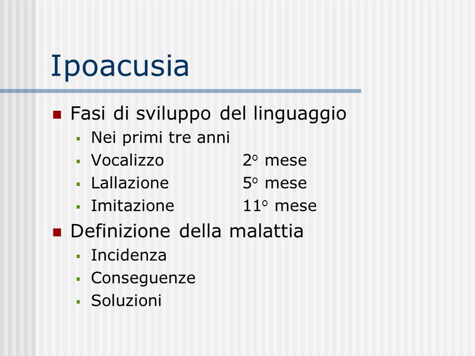 Ipoacusia Fasi di sviluppo del linguaggio Definizione della malattia