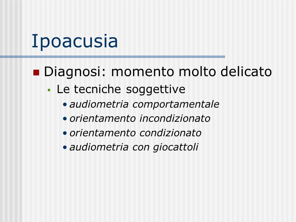 Ipoacusia Diagnosi: momento molto delicato Le tecniche soggettive