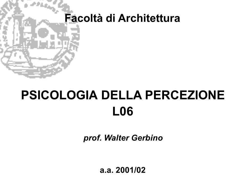 Facoltà di Architettura PSICOLOGIA DELLA PERCEZIONE