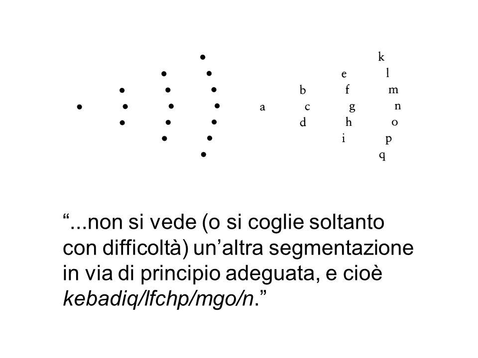...non si vede (o si coglie soltanto con difficoltà) un'altra segmentazione in via di principio adeguata, e cioè kebadiq/lfchp/mgo/n.