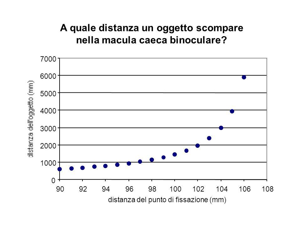 A quale distanza un oggetto scompare nella macula caeca binoculare
