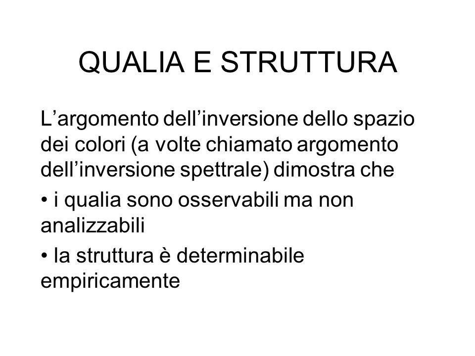 QUALIA E STRUTTURA L'argomento dell'inversione dello spazio dei colori (a volte chiamato argomento dell'inversione spettrale) dimostra che.