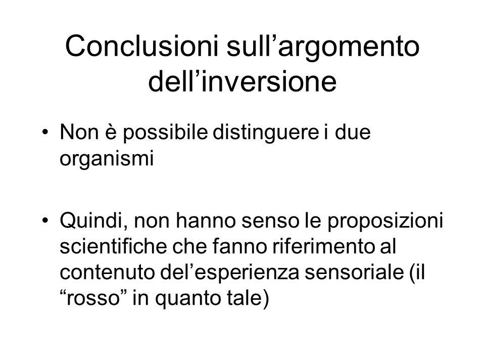 Conclusioni sull'argomento dell'inversione