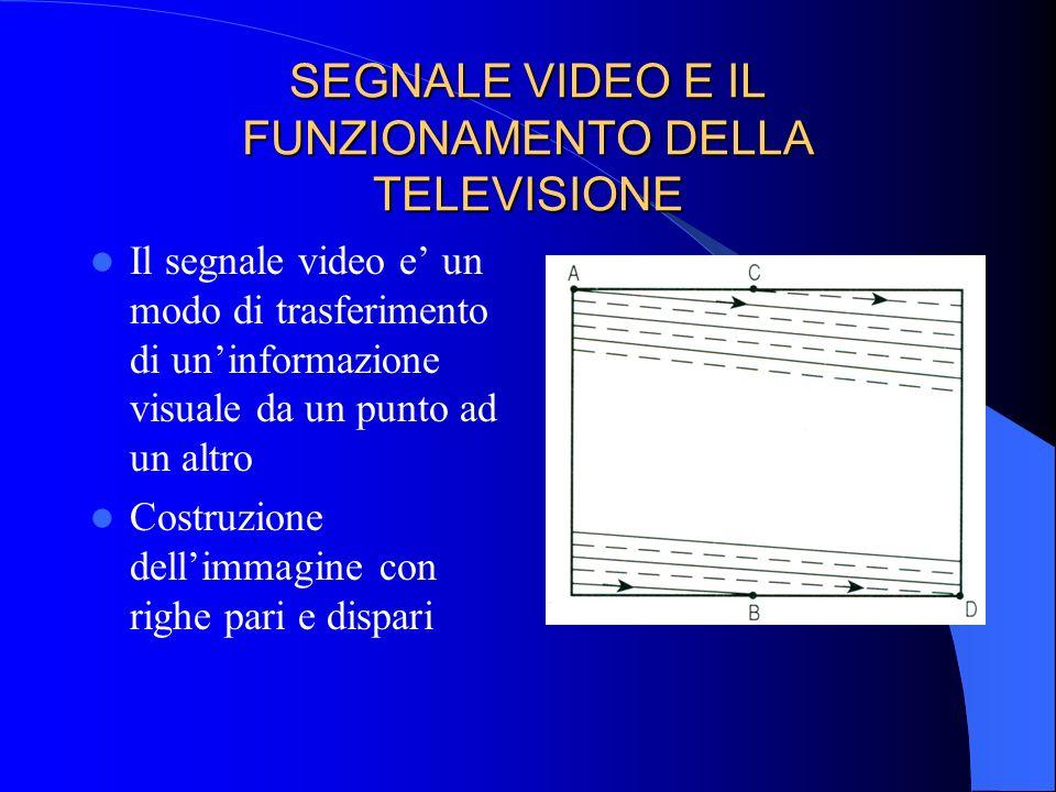 SEGNALE VIDEO E IL FUNZIONAMENTO DELLA TELEVISIONE