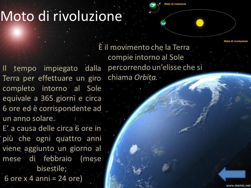 Moto di rivoluzioneÈ il movimento che la Terra compie intorno al Sole percorrendo un'elisse che si chiama Orbita.