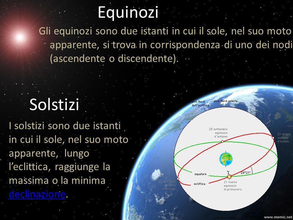 EquinoziGli equinozi sono due istanti in cui il sole, nel suo moto apparente, si trova in corrispondenza di uno dei nodi (ascendente o discendente).
